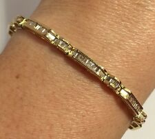 Vintage 10k Yellow Gold 2 1/2 - 3 Carat Ct Diamond Pave Tennis Bracelet 7 3/4""