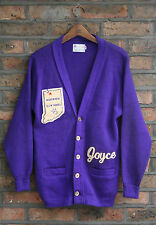 VTG 70s EAST-TENN PURPLE ACRYLIC LETTER VARSITY CARDIGAN AWARD SWEATER USA S/M