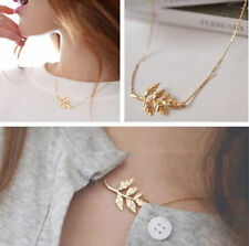 Celebrity Simple Delicate Golden Leaf Pendant Charm Chain Necklace Women Gift