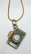 Delightful Sculpted Brasstone Camera Photography Rhinestone Pendant Necklace