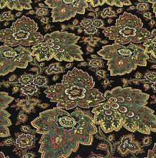 WAVERLY BENGAL PAISLEY BLACK GREEN FLORAL CURTAIN UPHOLSTERY FABRIC 1.5 YARDS
