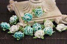 "NEW Prima "" Cameo Roses - Aqua"" 12 Aqua & Light Aqua Sticker Roses #538675"