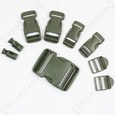 9 PIECE OLIVE GREEN BUCKLE SET - Replacement Spare Rucksack Webbing Belt Clips