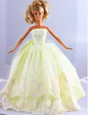 New Handmade Yellow Party Dress Clothes Outfits For Barbie Doll 1107
