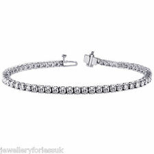 """18Carat White Gold Diamond Tennis Bracelet 4-Claw 6.85 carats 7.25""""Inches"""