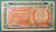 NIGERIA 5 SHILLINGS RARE NOTE , P 10 a , ISSUED 1968