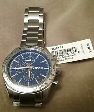 Fossil BQ2117 Blue Dial Brushed Stainless Steel Chronograph Men's Watch