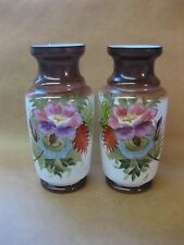 Pair of Antique Victorian Opaline Glass Vases ~ Hand Painted Flowers ~27 cm Tall