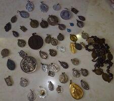Catholic Medallions 50 + Antique /Vintage /Mod Religious Medals Unique Job Lot