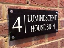 LUMINOUS MODERN HOUSE SIGN PLAQUE GLOSS BLACK DOOR NUMBER/STEET