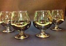 Vintage Mid Century Dorothy Thorpe Style Silver Smoked Cordial Set of 4