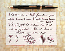 WATERMAN'S W5 FOUNTAIN PEN 14K SOLID GOLD BROAD NIB BLACK RESTORED EX CONDIT!!
