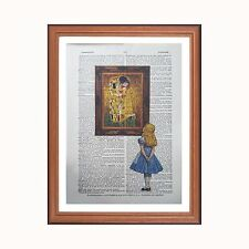Alice in Wonderland vs Gustav Klimt - The Kiss  - dictionary art print home deco