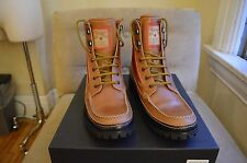 DSQUARED 2 TAN BLACK LEATHER RED TECHNO LACE UP ANKLE MOUNTAIN BOOTS SHOES 43 10