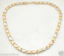 Hugs & Kisses Stampato Chain Necklace 14K Tricolor Gold Clad 925 Silver