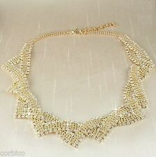 N5 Vintage Style Gold Plated Rhinestone Crystals Statement Necklace
