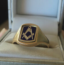 9ct Yellow Gold & Blue Enamel Masonic Swivel Ring 1986  -  NOT PLATED size W