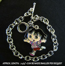 Dora Charm Bracelet Silver Link Toggle Clasp-CAN MAKE SMALLER REQUEST