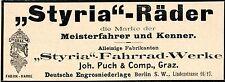 Joh. Puch & Comp. Graz  STYRIA-RÄDER  Historische Reklame von 1899