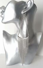 SEXY! HUGE! - super long silver tone & diamante chain tassel drop earrings * NEW
