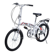 "New 20"" Folding Bike 6 Speed Bicycle Storage Silver School Sports Shimano"