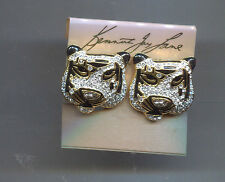 KENNETH LANE BLACK PAVE CRYSTAL TIGER EARRINGS