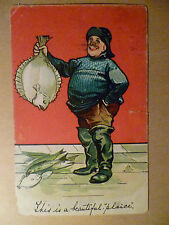 1907 Comic Postcard- THIS IS A BEAUTIFUL PLAICE +Stamp