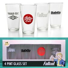 Fallout Pint Glass 4-Pack Set NIB Vault-Tec RobCo Nuka-Cola Officially Licensed