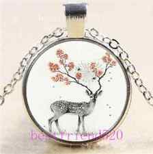 Sika Deer Photo Cabochon Glass Tibet Silver Chain Pendant Necklace
