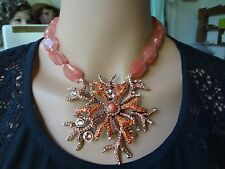 "HEIDI DAUS ""SEA FOLLY"" CRYSTAL CORAL-DESIGN DROP  NECKLACE"