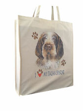 Italian Spinone Reusable Cotton Shopping Bag Tote with Gusset and Long Handles