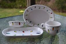 """christmas BREAD PLATTER UTILITY TRAY string of lights FIESTA WARE 12"""" white ONLY"""