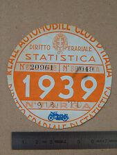 BOLLO ACI TASSA DI CIRCOLAZIONE MOTO BIANCHI FERRERA GUZZI GILERA EPOCA 1939