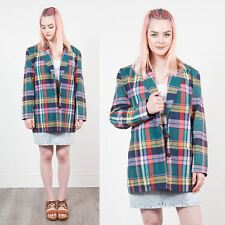 WOMENS VINTAGE 90'S CHECK PLAID TARTAN BLAZER JACKET OVERSIZE FIT CLUELESS 14