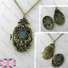 BIG CHERUB LOCKET romantic repousse NECKLACE heavy pendant crystal vintage brass