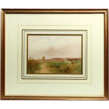 Original Signed Framed Heathland Leaves Watercolour Landscape Painting 1909
