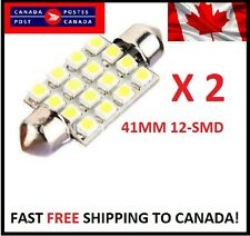 2X WHITE Xenon Festoon 41mm LED Dome Light Bulb 12SMD LED chips Interior 3528