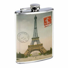Vintage Poster D30 Flask 8oz Stainless Steel Eiffel Tower Paris Postcard Whiskey