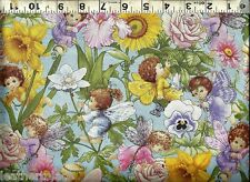 Elizabeths Studio Angels & Fairy Flowers Metallic ~ 100% Cotton Quilt Fabric BTY