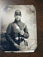 Civil War Military Soldier With Rifle & Bag TinType C250NP