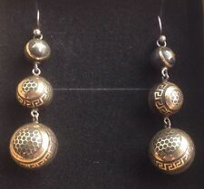 Antique French Victorian Pique Earrings Tortoiseshell and Gold with Star/Aztec/H