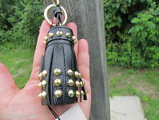 NEW BURBERRY key chain ITALY studs Milton black gold tassels $425 dust bag charm