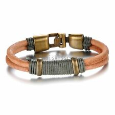 Vintage Style Double Brown Leather Cord Strap Bracelet Wristband for Men Women
