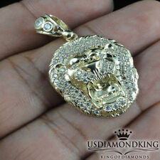 Mini Men's Women's 10k 100% Real Solid Yellow Gold Lion Head Charm Pendant New