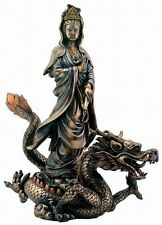 Kwan Yin Riding Dragon Statue Goddess of Compassion with Holy Water Urn #7828