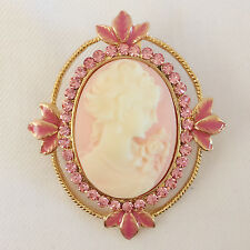 New Victoria Concept Vintage Style Pink Cameo European Brooch Pendant Pin BR1014