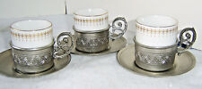 3 Vintage Pewter Demitasse Cups and Saucers - Made in Italy / Bavaria