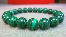 "Genuine MALACHITE bead bracelet for MEN (On Stretch) AAA Quality 10mm - 8"" inch"