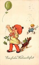 BG14848 child with dog and a balloon comic clover weihnachten christmas  germany