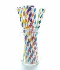 Rainbow Striped Paper Straws (25 Pack) - Colorful Drinking Straw Party Supplies
